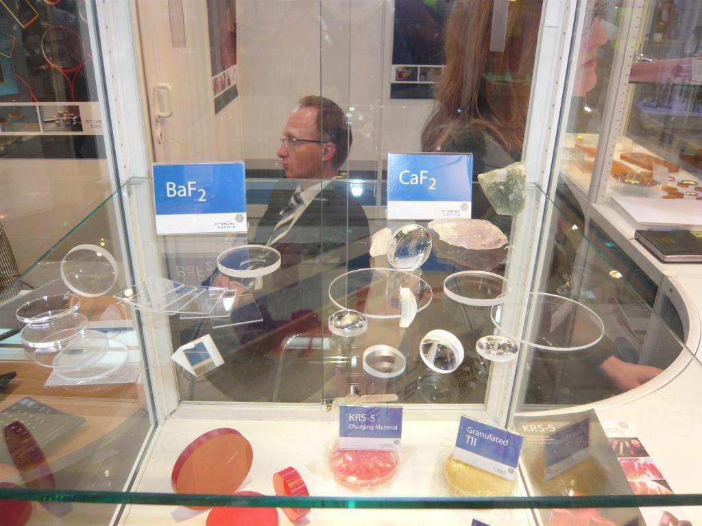 Exhibition stand CaF2 BaF2 windows prisms lenses by Crystaltechno